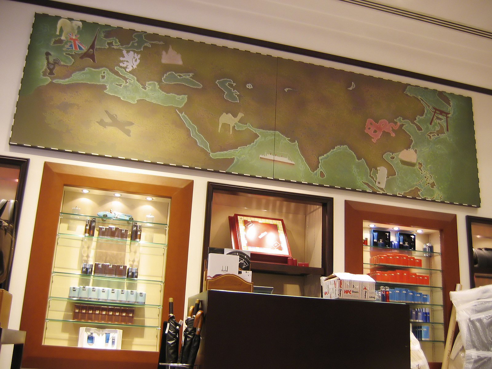 bespoke graphic mural artwork, Ulaanbaatar journey, alfred dunhill, map art, graphic design, gentleman's retailer high class shop display, retail display propmakers