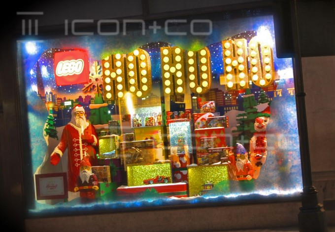 Christmas display props, xmas hamleys london window, santa clause, father christmas, lego toy shop, seasonal display manufacturers