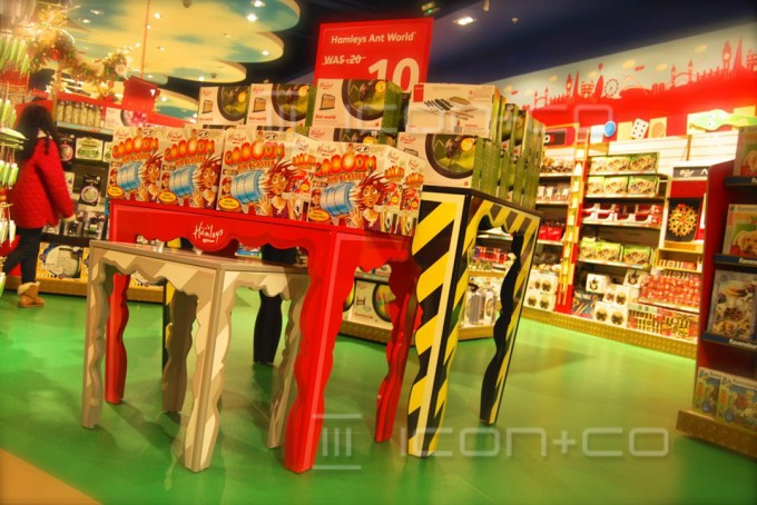 nesting-tables, product display table, retail props, toy shop store, kids theming