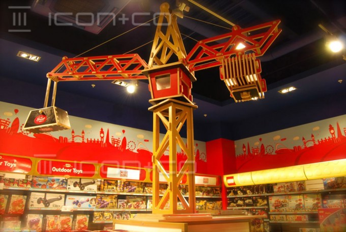 cnc cut, cutting, giant toy crane display prop, over-size plywood model, shop display props
