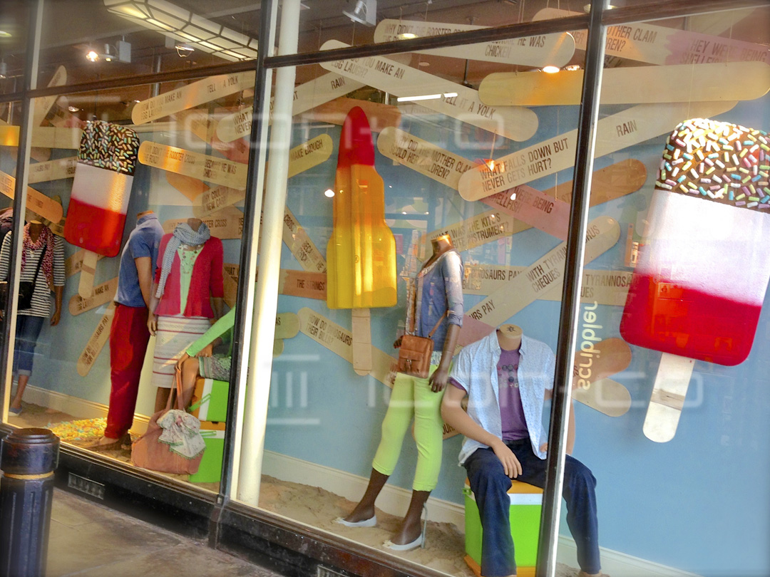 shop display contractors, manufacturers, white stuff, summer window display, cardiff, giant props