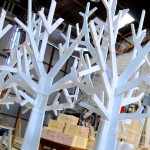 mdf display trees, floor standing, raw mdf, white timber xmas pretend trees, faux tree, cnc cutting prop, large display tree props