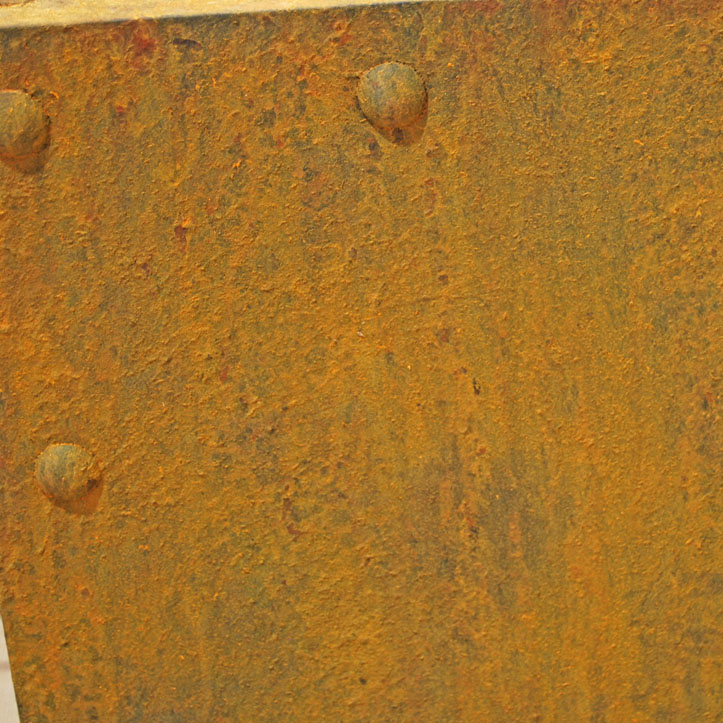 rusty display plinths, faux fake rusted paint effect, scenic art, sample, rusty rivets
