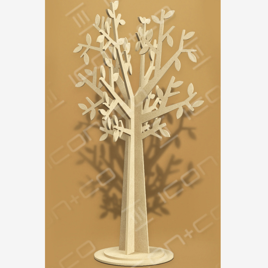 mdf display trees, off the shelf props, Summery, leaves, stylised, mdf display feature, fret cut cnc, shop retail store window scheme, flat-pack, interlocking self-assembly