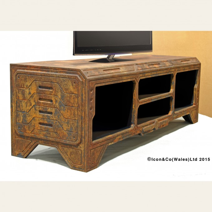 Rusty Rust, oxidised paint effects, Playstation, x-box, games console tv stand, dr who, future retro, cnc, limited ltd edition, etsy shop,