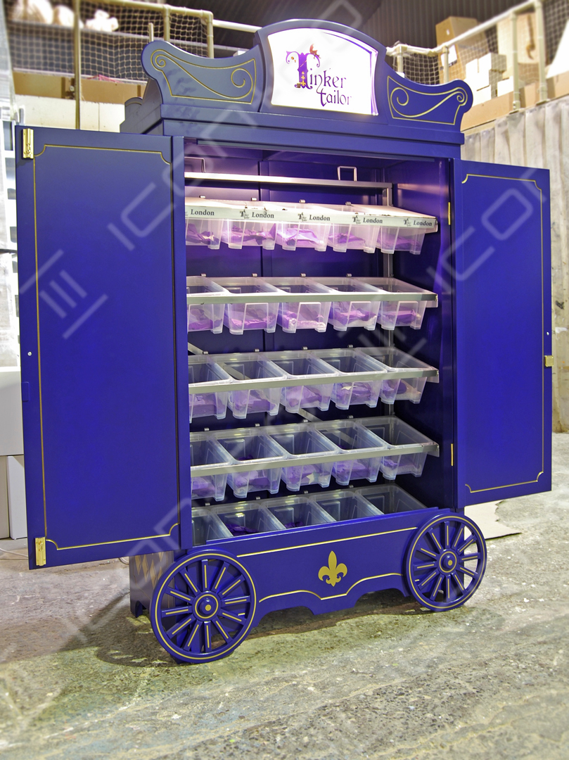 themed retail display, portable, flat-pack, customised bespoke gondola, fantasy theme, shopping display cart , market stall barrow, pop-up retail, mobile shop lockable secure display