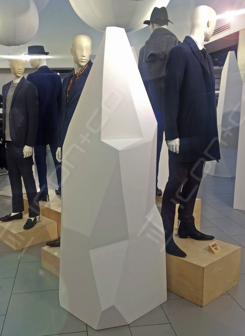 shop display feature, iceberg sculpture, creative carpenters joiners CAD, art retail display, shard sculpt, innovative shop display, Topman menswear in-store feature, multi faceted complex form