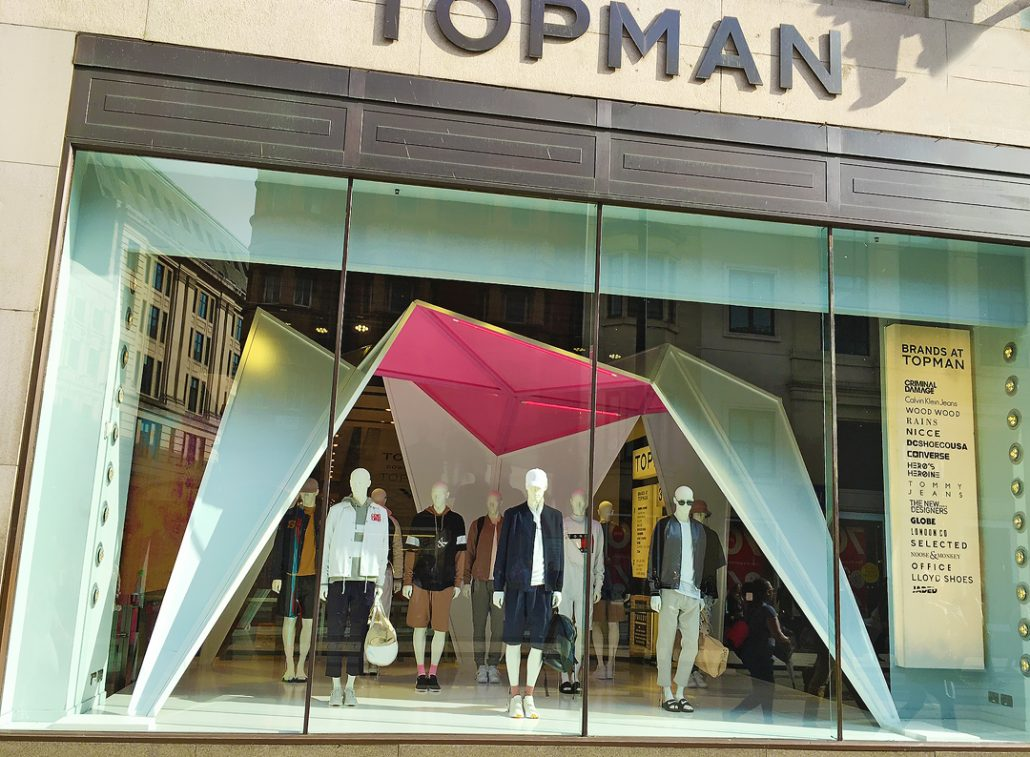 topshop, arcadia group, london shop window display, carpentry, bespoke props, led strip lights