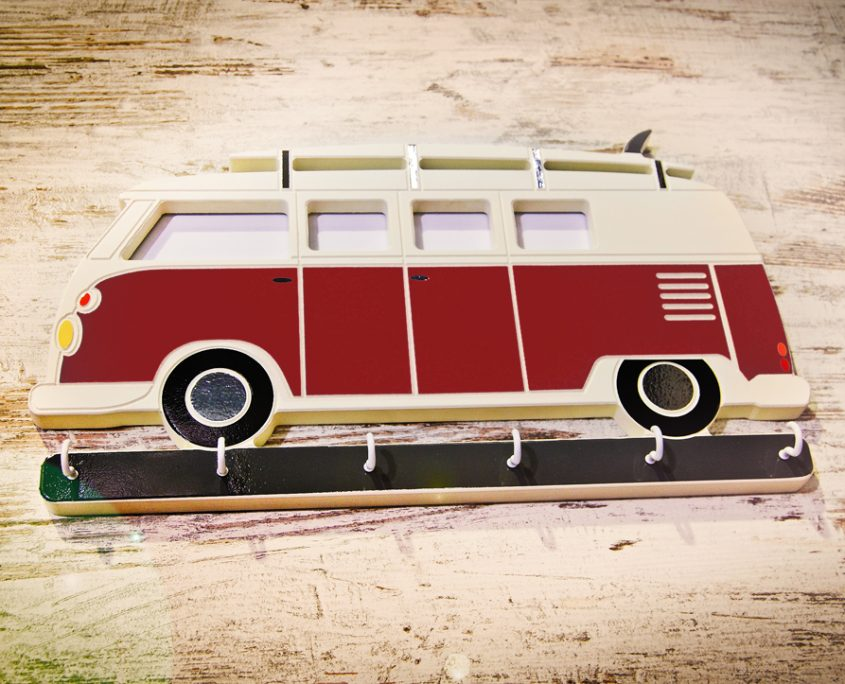 Surfer, wedding, birthday christmas gift idea camper van vw bongo surfing key holder photo frame, key hook, deep red burgundy