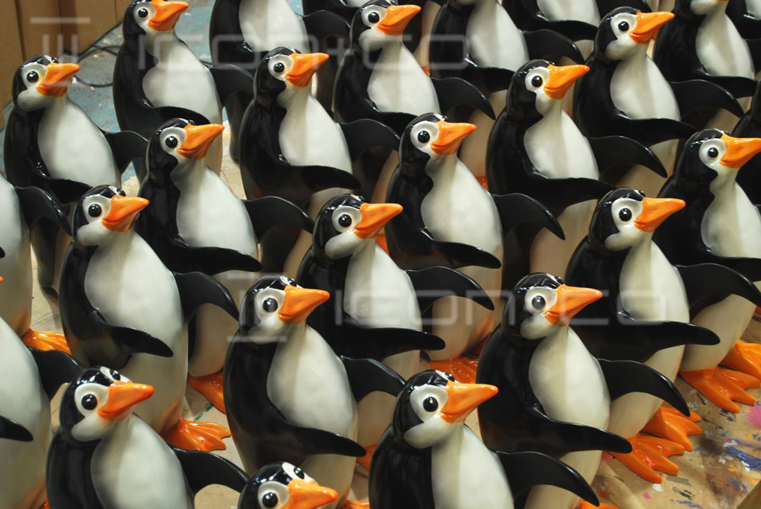 bespoke display props, life-size props, resin cast models, penguins, giant display props