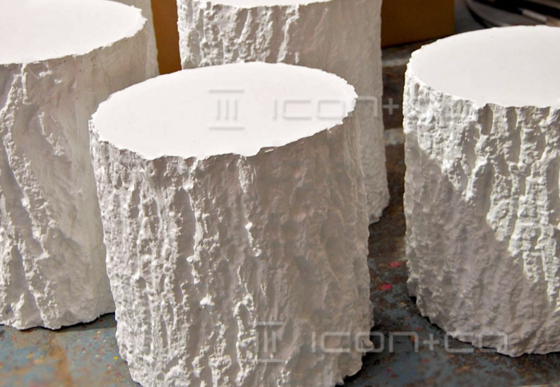 display tree stumps props, snow, winter, christmas. seasonal, tree stump, trunk section, bark, faux, mannequin base, xmas prop