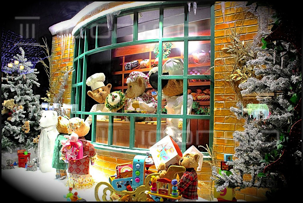 Christmas display manufacturers, seasonal display props, hamleys london window display scheme, animated teddy bears, victorian, snow snowy scene, retro vintage baker's window, fake Xmas tree