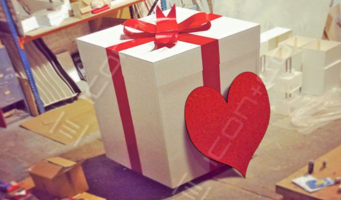 Giant prop, props display gift wrapped gift present giant prop oversized love heart ribbon bow st Valentines day
