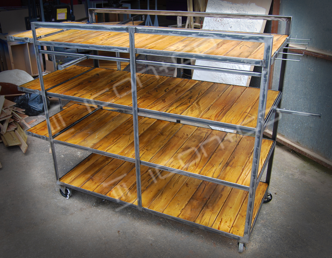 industrial vintage shop display shelving, urban retro reclaimed timber rustic shelving wheeled trolley shop store furniture