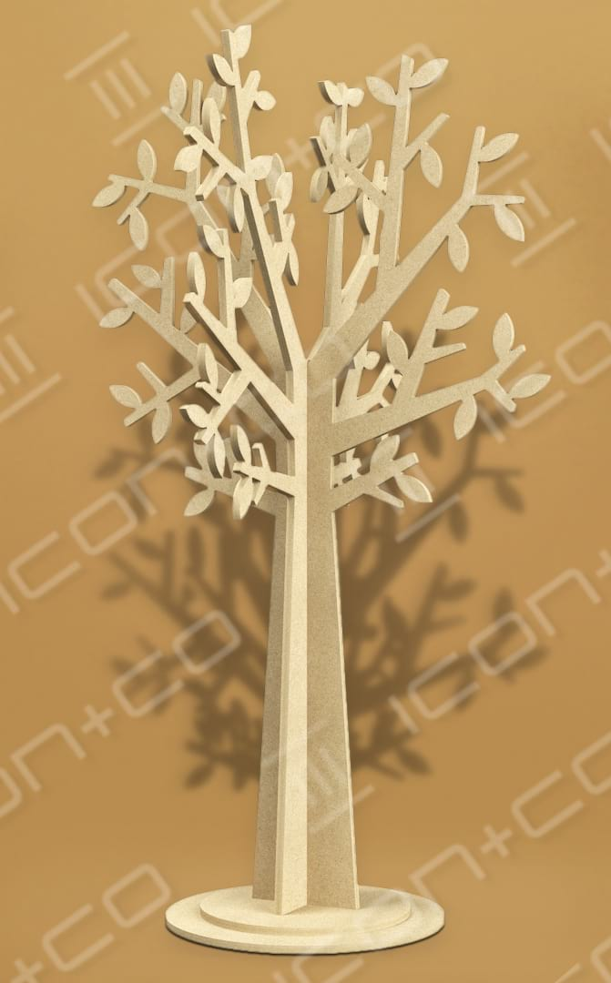 Summery, leaves, stylised, fret cut cnc mdf display feature, shop retail store window scheme, flat-pack, interlocking self-assembly