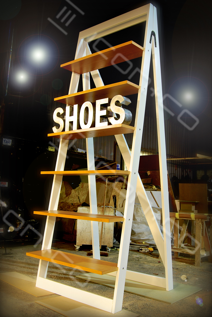 A-frame, shoe display unit, giant retail prop,