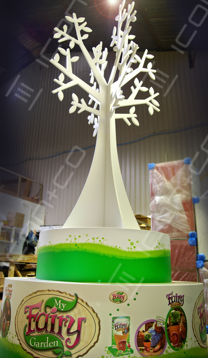 giant large display tree, mdf tree, wooden timber display trees, spring summer retail shop plinth