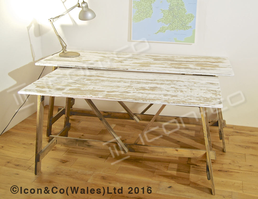 wedding decoration shabby chic distressed hand painted paint finish retro industrial urban vintage fold down fold-away trestle desk, with extra display shelf, retail shop display tables, pair twin table set, nesting nest, picnic, work bench, dining room