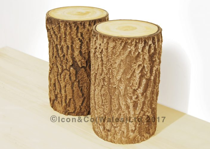 wedding decor trees, propmakers, fake tree stump, theatrical supplies, theatre tree trunk prop, scenic painting, scenically painted tree prop