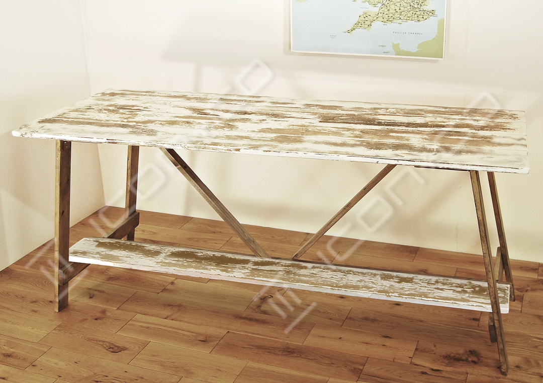 shabby chic distressed paint finish retro industrial urban vintage fold down fold-away trestle desk, with extra display shelf, retail shop display tables, nesting nest, picnic, work bench, dining room
