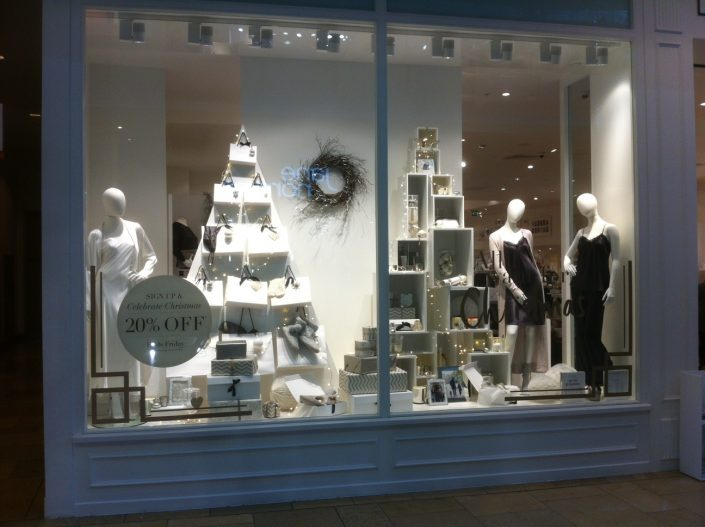 Christmas window tree display modern alternative seasonal white company London